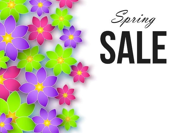 Banner de venda de temporada de primavera com flores. oferta de liquidação