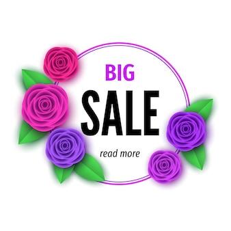 Banner de venda de temporada de primavera com flores rosa apuramento oferecer floral colorido fundo brilhante