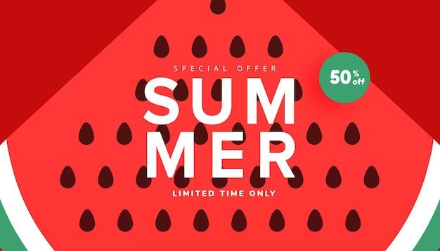 Banner de venda de temporada de verão, pôster de desconto de temporada quente com melancia madura