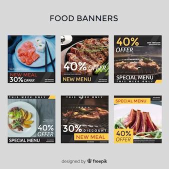 Banner de venda de tolo quadrado com pacote de fotos