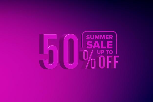 Banner de venda de verão 3d de luxo com desconto de 50%