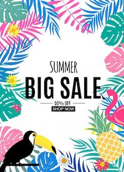 Banner de venda de verão abstrata