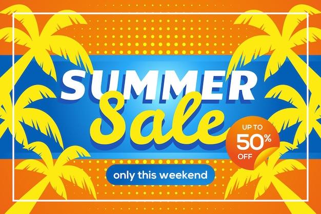 Banner de venda de verão até cinquenta por cento com palmeiras amarelas no banner de fundo azul e laranja