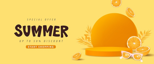Banner de venda de verão colorido com formato cilíndrico de exibição de produto conceito laranja