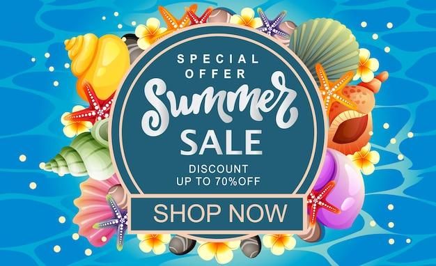 Banner de venda de verão colorido concha redonda texto
