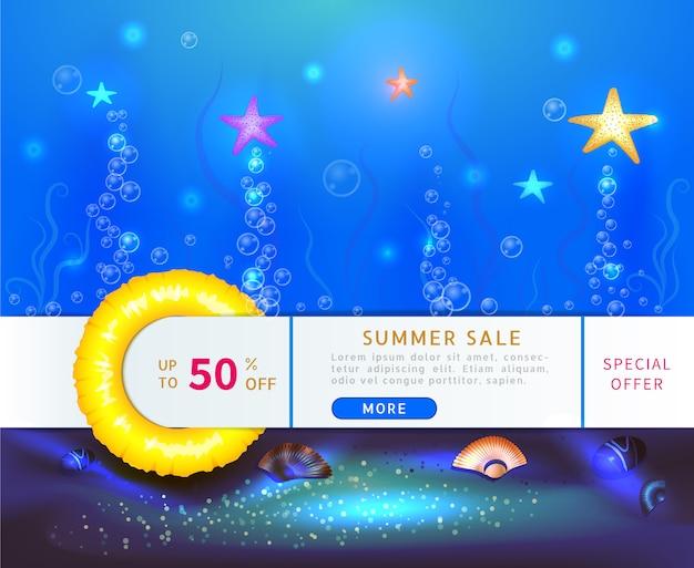 Banner de venda de verão com 50% de desconto com estrela do mar subaquática do oceano