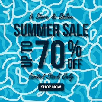 Banner de venda de verão com a água do mar