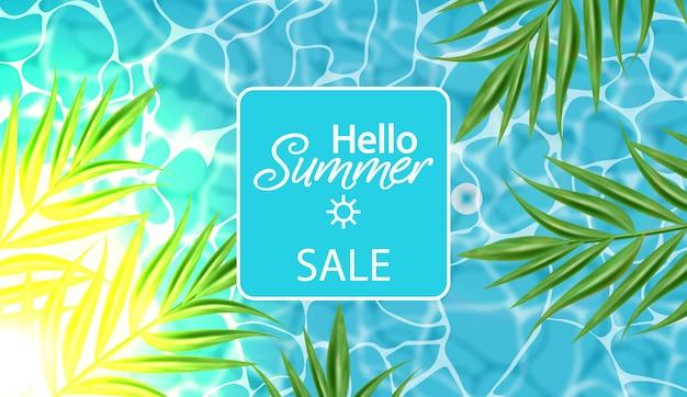 Banner de venda de verão com água azul