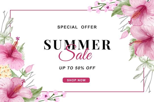 Banner de venda de verão com aquarela de flores de hibisco