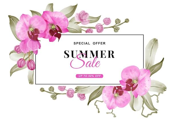 Banner de venda de verão com aquarela rosa orquídea Vetor Premium