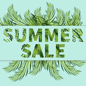 Banner de venda de verão com banana, samambaia, ramos de monstera