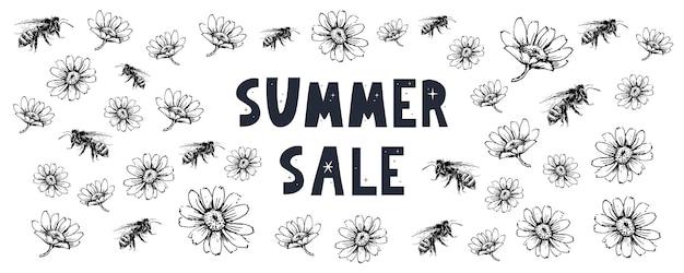 Banner de venda de verão com carta de flores