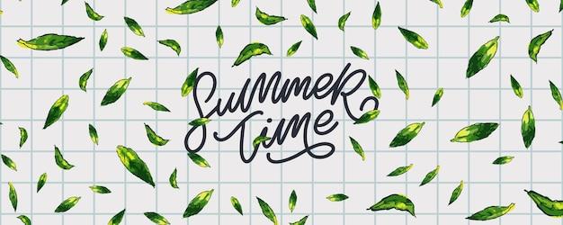 Banner de venda de verão com carta de folhas