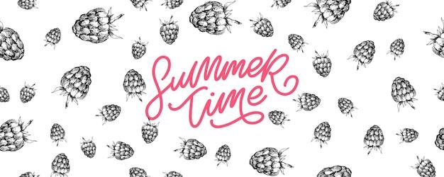 Banner de venda de verão com carta de frutas e framboesa