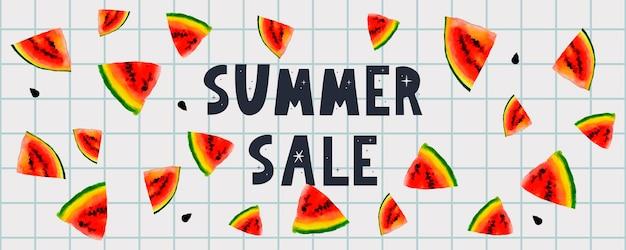 Banner de venda de verão com carta de melancia de frutas
