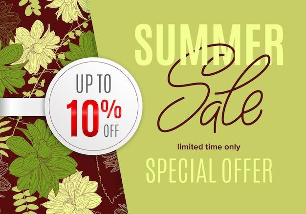 Banner de venda de verão com desenho a tinta de flores e adesivo redondo branco com 10% de desconto
