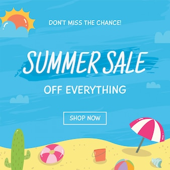 Banner de venda de verão com elementos de doodle