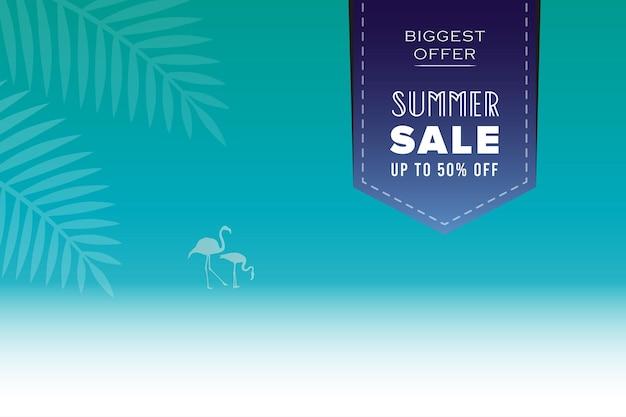 Banner de venda de verão com flamingo e palmeira