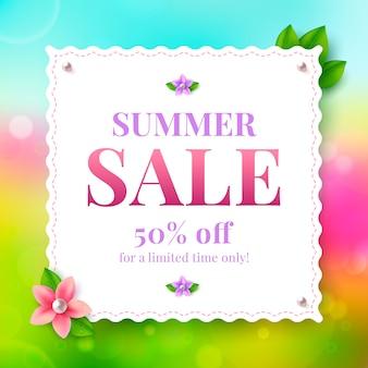 Banner de venda de verão com flor