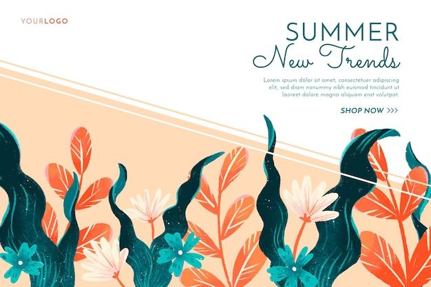 Banner de venda de verão com flores desenhadas à mão
