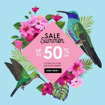 Banner de venda de verão com flores e beija-flores