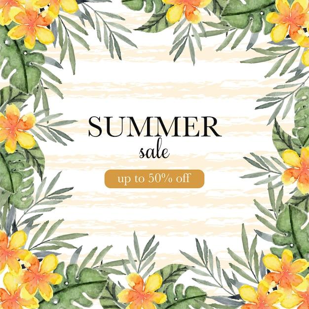 Banner de venda de verão com flores e folhagens tropicais