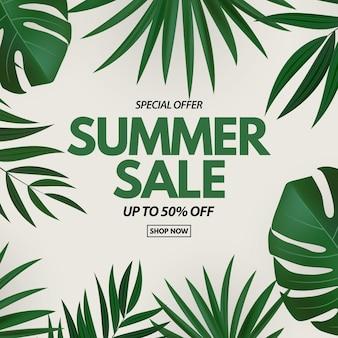 Banner de venda de verão com flores exóticas de palmeira tropical e folhas de monstera