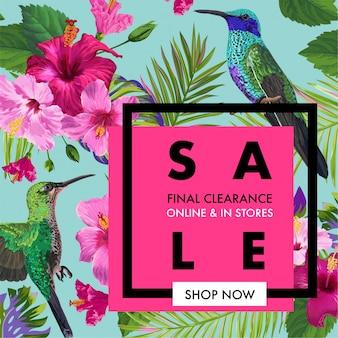 Banner de venda de verão com flores tropicais e pássaros