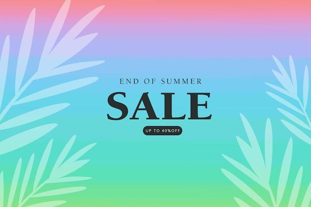 Banner de venda de verão com folha tropical