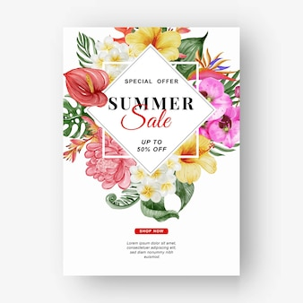 Banner de venda de verão com folhagem tropical e aquarela de flores