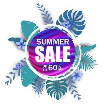 Banner de venda de verão com folhas de palmeira, folha de selva, gradiente holográfico