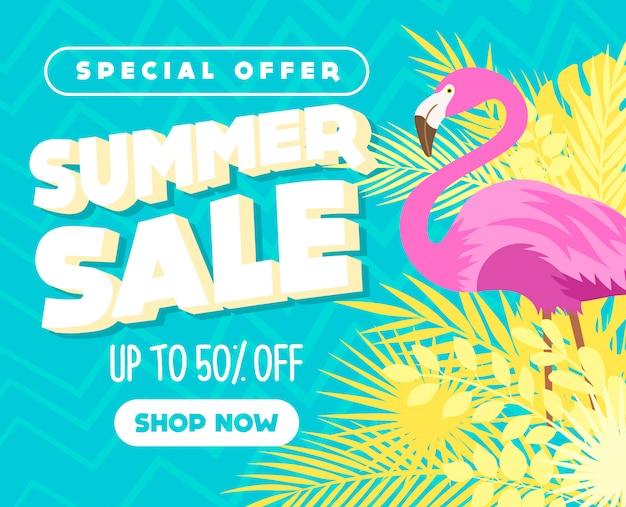 Banner de venda de verão com folhas e flamingo