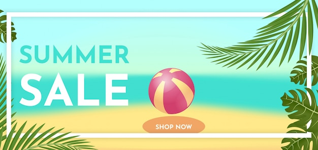 Banner de venda de verão com folhas tropicais. conceito de oferta quente.