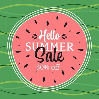 Banner de venda de verão com folhas tropicais olá ilustração abstrata de verão