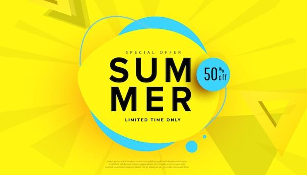 Banner de venda de verão com folhas tropicais para oferta sazonal