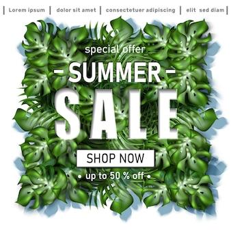 Banner de venda de verão com folhas tropicais