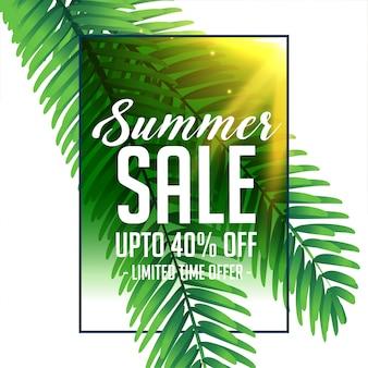 Banner de venda de verão com folhas verdes tropicais