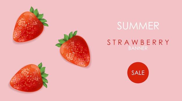 Banner de venda de verão com frutas morango e fundo rosa