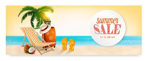 Banner de venda de verão com fundo de férias na praia