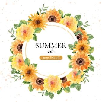 Banner de venda de verão com grinalda de girassol