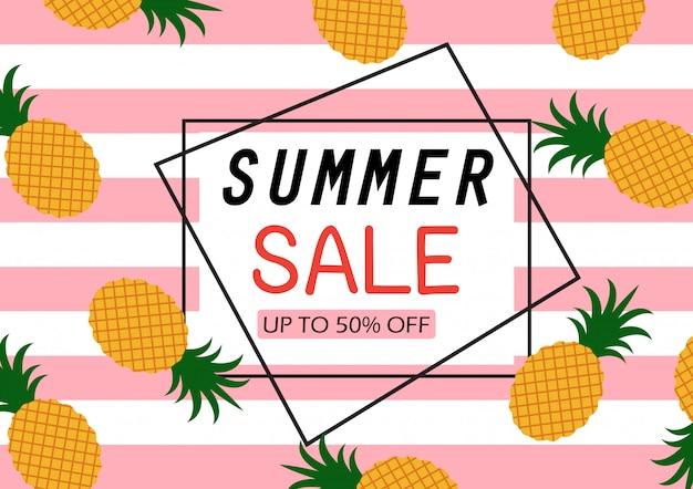 Banner de venda de verão com padrão de abacaxi