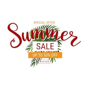 Banner de venda de verão com palma
