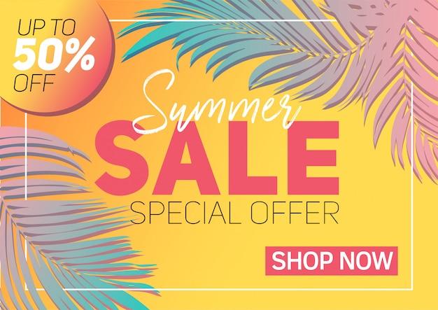 Banner de venda de verão com papel cortado folhas tropicais