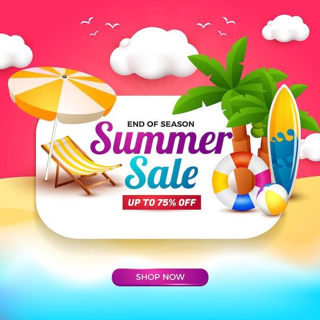 Banner de venda de verão com quadro branco e elemento de desenho 3d