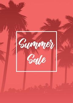 Banner de venda de verão com silhuetas de árvore de palma