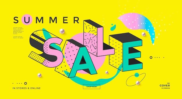 Banner de venda de verão com tipografia memphis e formas geométricas pôster de liberação da moda pop art