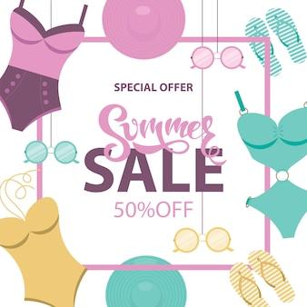 Banner de venda de verão com trajes de banho, óculos de sol, chapéus, flip-flops.