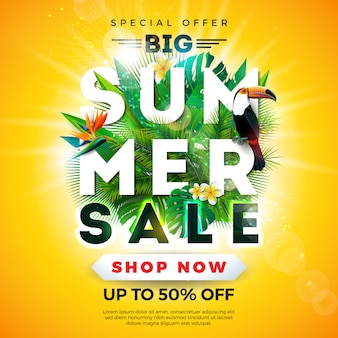 Banner de venda de verão com tucano pássaro e folhas de palmeira