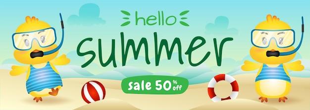 Banner de venda de verão com um casal de garotas fofas usando fantasia de mergulho na praia