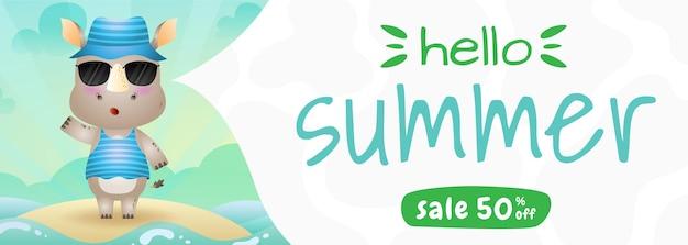 Banner de venda de verão com um rinoceronte fofo usando fantasia de verão